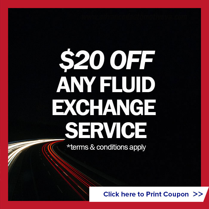 $20 off any fluid exchange service (terms and conditions apply)