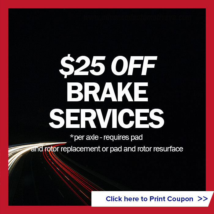$25 off brake services (per axle requires pad and rotor replacement or pad and rotor resurface)