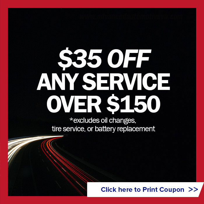 $35 off any service over $150 (excludes oil changes, tire service, or battery replacement)