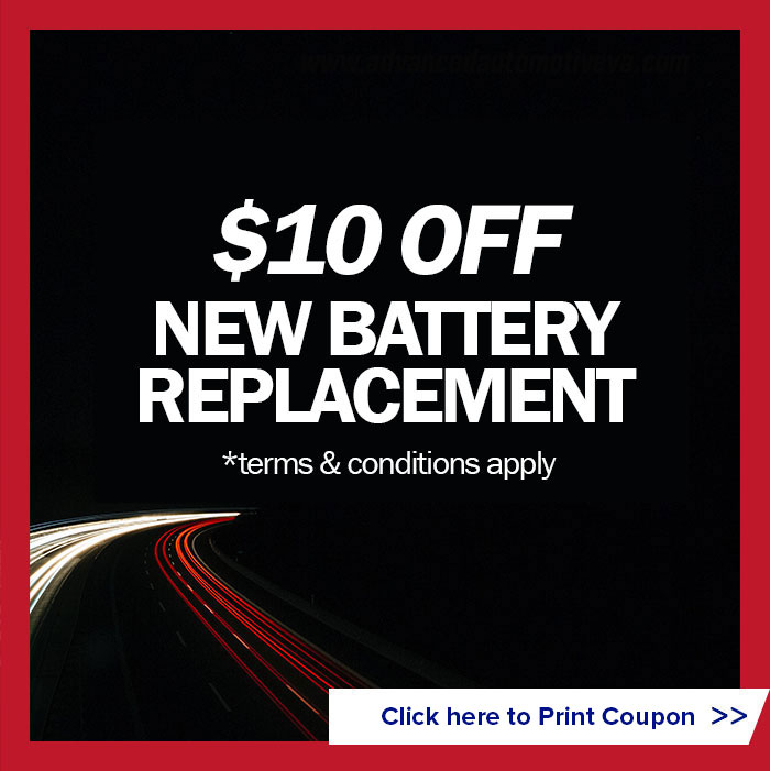$10 off new battery replacement (terms and conditions apply)